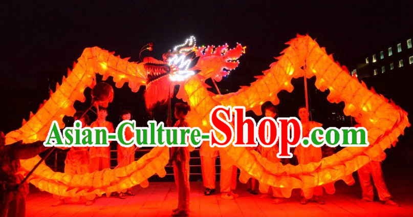 Happy Festival Celebration LED Luminous Red Dragon Dancing Costumes Complete Set