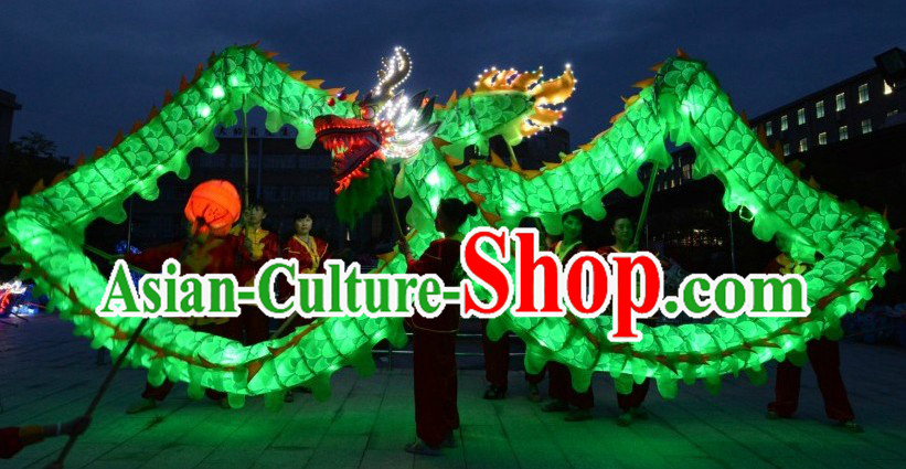Happy Festival and Events LED Luminous Green Dragon Dance Costumes Complete Set