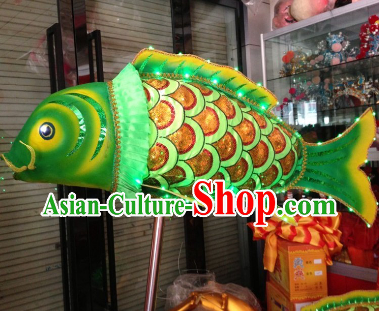 Green LED Luminous Chinese Traditional Fish Dance Prop