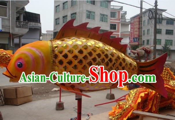 Traditional Chinese Fish Carp Dance Costume Arts and Crafts for Holding and Display