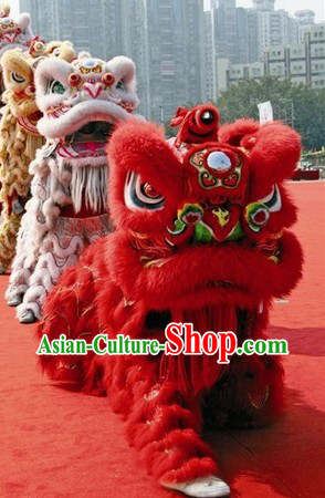 Chinese Classic Red Lion Dance Costumes Set