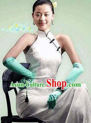 Traditional Chinese Pure White Cheongsam Qipao
