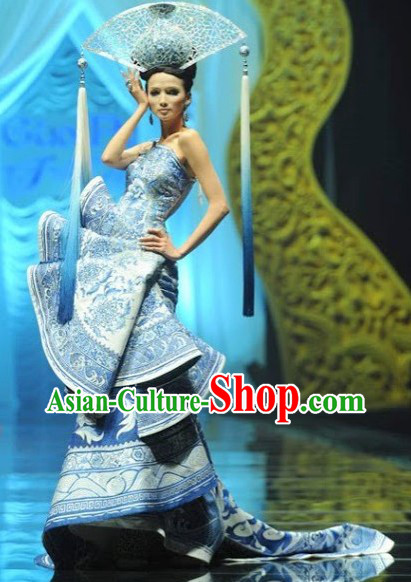 Beauty Contest Chinese Classical Style Blue and White Performance Dress Clothing for Women