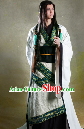 Ancient Chinese Male Fairy Costumes and Headwear Complete Set