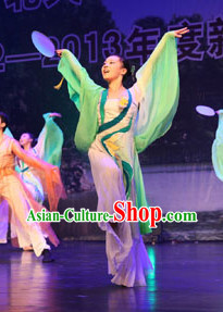 Classical Group Fan Dance Costumes and Headwear Complete Set for Women