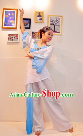 Classical Fan Dance Costume and Headwear Complete Set for Women