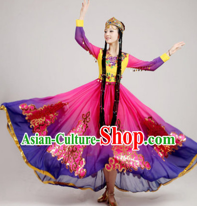 Chinese Folk Dances Costumes and Hat of Xinjiang China