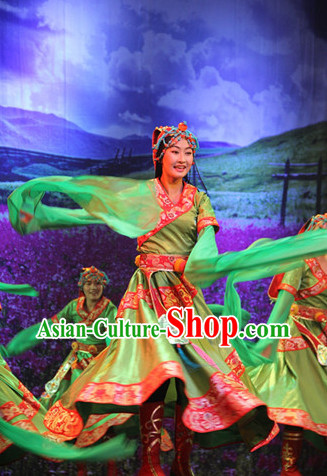 Chinese Tibetan Dance Costumes Attire and Headwear Complete Set for Women