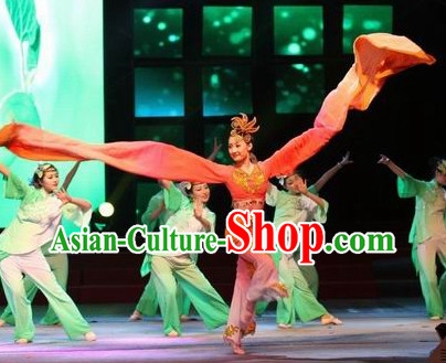 Chinese Water Sleeve Stage Performance Dance Costumes and Headwear for Women