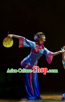 Professional Stage Performance Fan Dancing Costumes and Headwear for Women