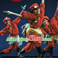 Professional Stage Performance Tibetan Dance Costumes and Hat for Men
