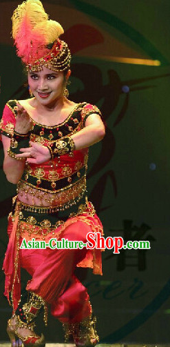 Professional Stage Performance Xinjiang Dance Costume and Hat for Girls
