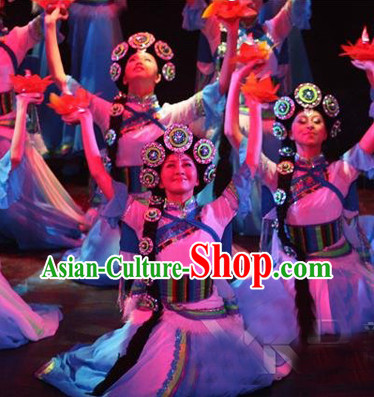 Professional Tibetan Dancing Costumes and Headwear Complete Set for Women