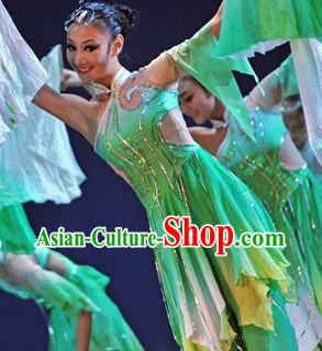 Asian Green Classical Dance Dresses and Headwear Full Set