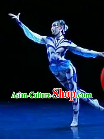 Chinese Stage Dragonfly Dance Costumes and Headwear Complete Set