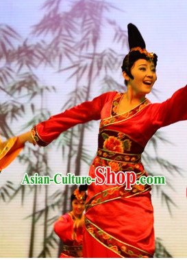 Chinese Stage Classical Dance Costumes and Headwear Complete Set