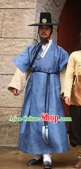 Ancient Korean Male Robe and Hat Complete Set