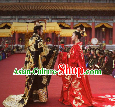 Ancient Korean Emperor and Empress Wedding Dresses Headwear Complete 2 Sets