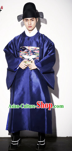 Ancient Korean Imperial Official Suit and Hat Complete Set for Men