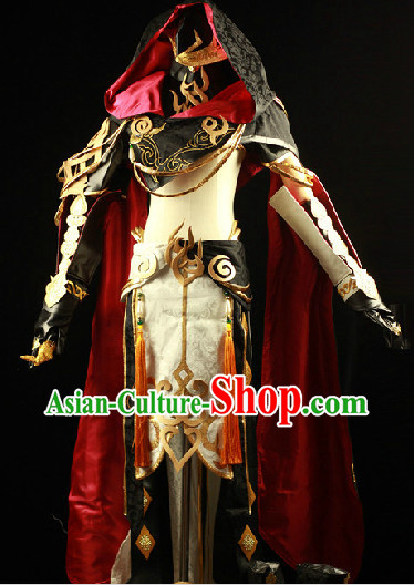 Ancient Chinese Swordman Cosplay Costumes and Accessories Complete Set