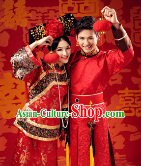 Traditional Chinese Prince and Princess Wedding Dresses Two Complete Sets