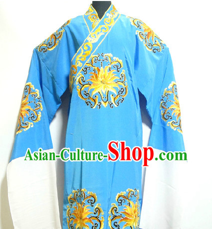 Chinese Blue Gold Embroidery Robe