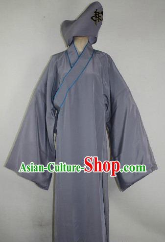 Chinese Ancient Monk Costumes and Hat Complete Set