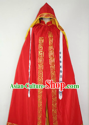 Red Chinese Ancient Mantle Robe for Men or Women