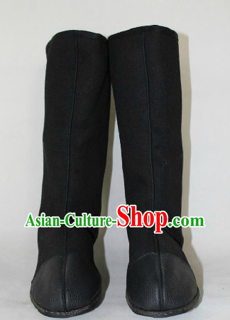 Traditional Chinese Black Boots for Adults