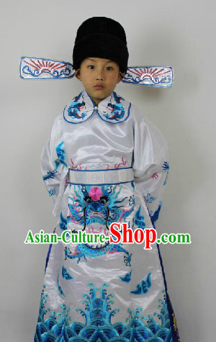 Traditional Chinese Opera Official Costumes and Hat for Kids