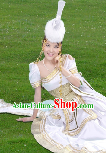 Mongolian Queen Long Dresses and Hat Complete Set