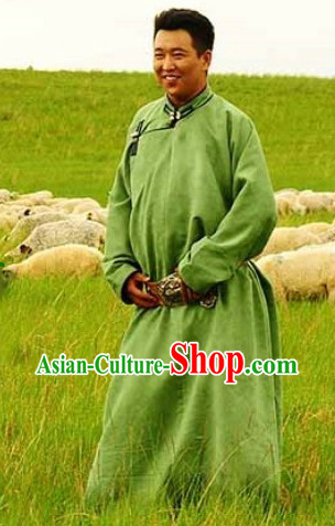 Mongolian Green Robe Clothing for Men