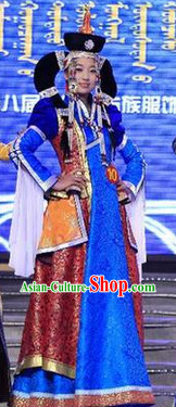 Mongolian Long Robe Clothing and Hat for Women