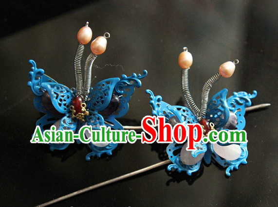 Chinese Traditional Handmade Butterfly Hair Clasps Pair