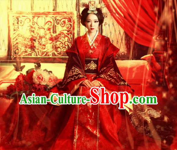 Han Dynasty Wedding Dress and Hair Decorations Complete Set