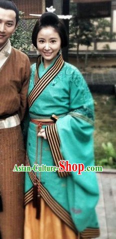 Ancient China Green Hanfu Long Robe Set for Women