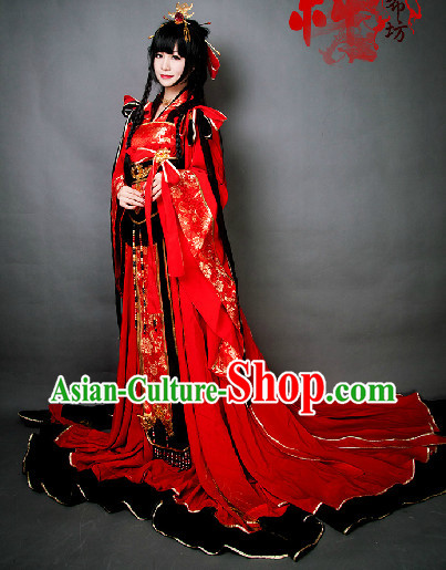 Red Chinese Princess BJD Hanfu Cosplay Costumes and Headdress Complete Set