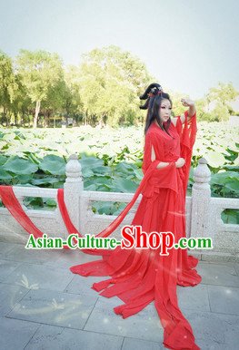 Red Chinese Hanfu Beauty Costumes and Headdress Complete Set