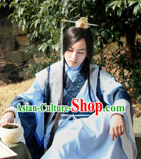 Traditional China Hanfu Costumes and Hair Accessories Complete Set