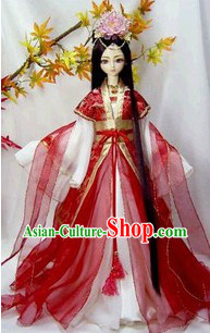 Red BJD Costumes and Hair Accessories Complete Set for Women