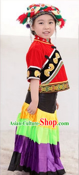 Traditional Yi Ethnic Group Dancing Costumes for Kids