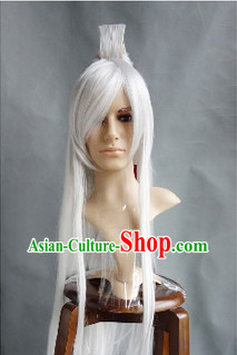Ancient Chinese White Long Wig for Men