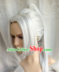 Ancient Chinese Hero White Long Wig for Men