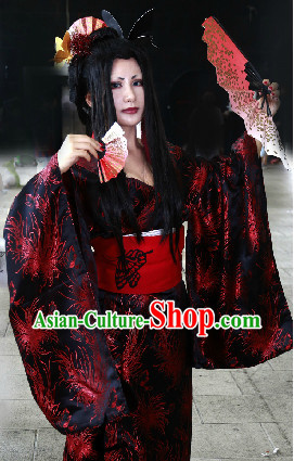 Japanese Geisha Costume and Headwear Complete Set