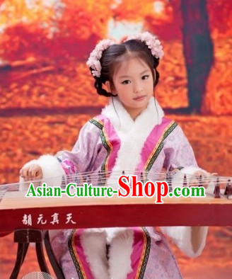 Ancient Chinese Princess Robe and Headwear Complete Set for Children