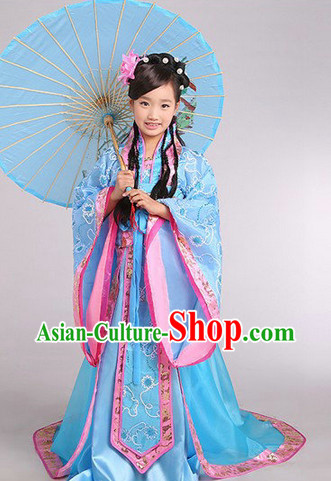 Ancient Chinese Kids Princess Outfits and Headwear Complete Set