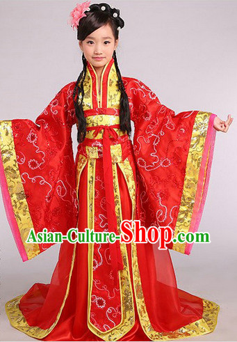 Ancient Chinese Kids Princess Suits and Headwear Complete Set