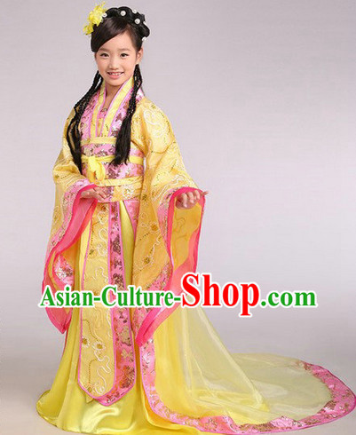 Ancient Chinese Kids Princess Robe and Headwear Complete Set