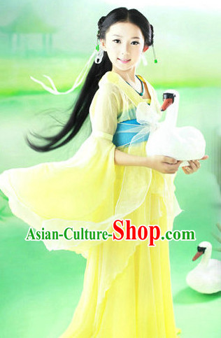 Ancient Chinese Classical Fan Dance Costumes for Kids