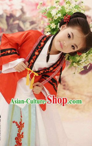 Ancient Chinese Classical Fan Dancing Costume for Kids